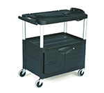 Rubbermaid FG9T3200 BLA 3-Shelf Audio-Visual Cart with Cabinet - 200-lb Capacity, Power Strip, Black