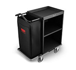 Rubbermaid FG9T6000 BLA Compact Housekeeping Cart - 2-Shelf, 7.3 cu ft Capacity, Black