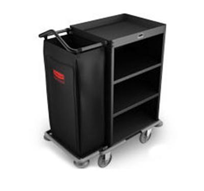 Rubbermaid FG9T6100 BLA Compact Housekeeping Cart - 3-Shelf, 8.8 cu ft Capacity, Black