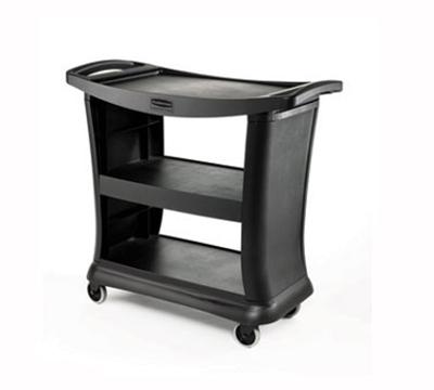 Rubbermaid FG9T6800 BLA 3-Shelf Service Cart - 300-lb Capacity, Black