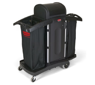 Rubbermaid FG9T7800 BLA High Security Compact Housekeeping Cart Black