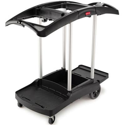 Rubbermaid FG9T9200 BLA High Capacity Cleaning Cart - Aluminum/Plastic, Black