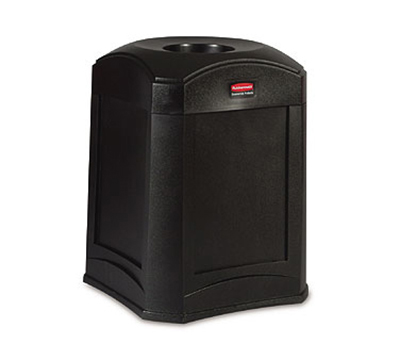 Rubbermaid FG9W0000 BLA 35-gal Landmark Funnel Top Trash Container - Rigid Liner, Black