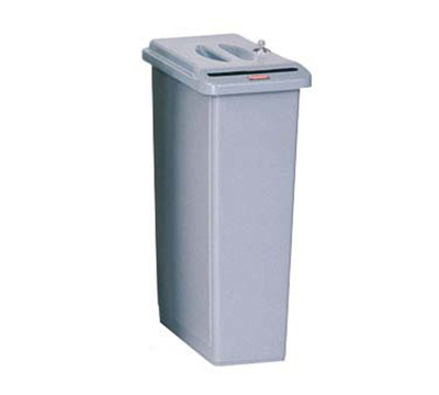 Rubbermaid FG9W1500LGRAY 23-gal Slim Jim Confidential Document Container - Key Lock, Light Gray