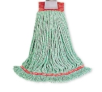 "Rubbermaid FGA21206  GR00 Medium Wet Mop Head - 1"" Headband, 4-Ply Cotton/Synthetic Blend, Green"