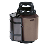 Rubbermaid FGA38SDBKPL 38-gal Architek Waste Receptacle - Canopy Hinged Top, Side Door, Black/Anthracite
