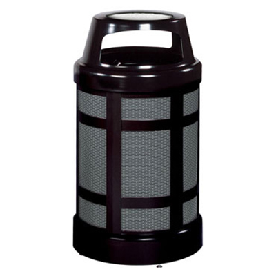Rubbermaid FGA38SUBKPL 38-gal Architek Waste Receptacle - Canopy Hinged Urn Top, Black/Anthracite