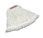 """Rubbermaid FGD45306 WH00 Super Stitch Large Mop Head - 5"""" Red Headband, 4-Ply Rayon, White"""