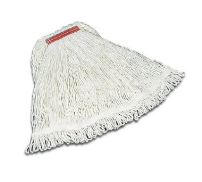 "Rubbermaid FGD41206 WH00 Super Stitch Medium Mop Head - 1"" Headband, 4-Ply Rayon, White"