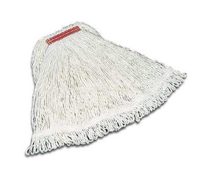 Rubbermaid FGD41206 WH00 Medium Super Stitch Mop Head 4-ply 1 in Headband for Applying Chemical White Restaurant Supply