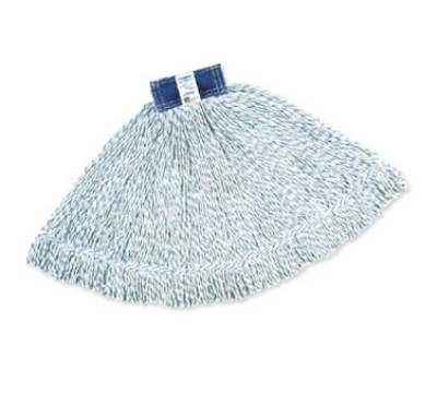 "Rubbermaid FGD51306 WH00 Large Finish Mop Head - 1"" Headband, 4-Ply Yarn, White/Blue Stripe"
