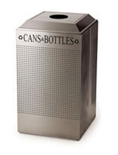 Rubbermaid FGDCR24C DP 29-gal Square Recycling Container - Cans/Bottles, Rigid Liner, Desert Pearl