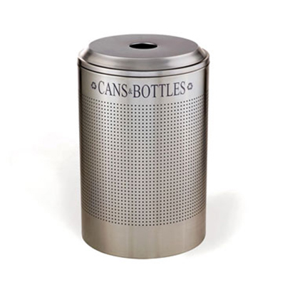 Rubbermaid FGDRR24C SM 26-gal Silhouette Round Recycling Container - Cans/Bottles, Silver Metallic