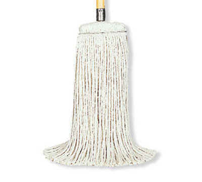 Rubbermaid FGF56800 WH00 24-oz Premium Mop Head - Screw-On Head, 4-Ply Cotton/Rayon/Synthetic, White