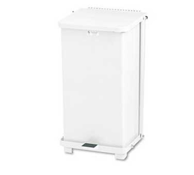 Rubbermaid FGST24EPLWH 24-gal Defenders Step Waste Can - Plastic Liner, White