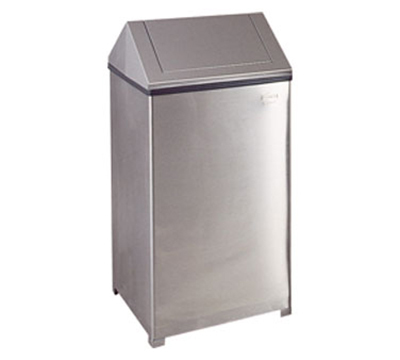 Rubbermaid FGT1940SSPL 40-gal Wastemaster Receptacle - Hinged Top, Plastic Liner, Stainless