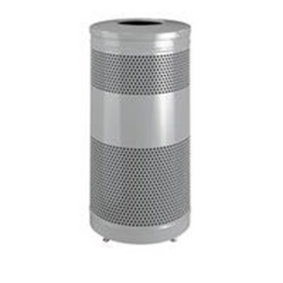 """Rubbermaid FGS3ETSMPLBK 25-gal Recycling Receptacle - """"Cans or Bottles"""" Drop Top, Silver Metallic"""