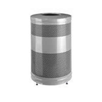 """Rubbermaid FGS55ETSMPLBK 51-gal Recycling Receptacle - """"Cans or Bottles"""" Drop Top, Silver Metallic"""