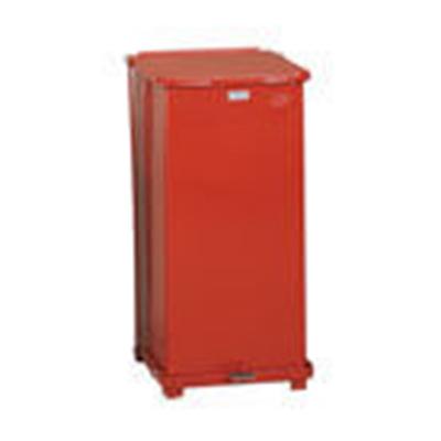 Rubbermaid FGST24EPLRD 24-gal Defenders Step Waste Can - Plastic Liner, Red