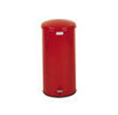 Rubbermaid FGST5EGLRD 5-gal Defenders Step Waste Can - Galvanized Liner, Red