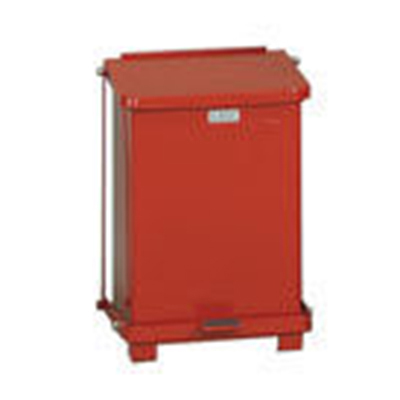 Rubbermaid FGST7EPLRD 7-gal Defenders Step Waste Can - Plastic Liner, Red