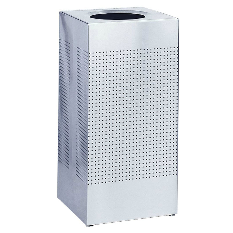 Rubbermaid FGSC18SSRB 29-gal Silhouette Square Indoor Receptacle - Plastic Liner, Stainless