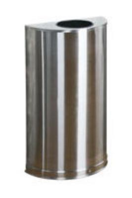 Rubbermaid FGSO12SSSPL 12-gal European Half-Round Indoor Receptacle - Plastic Liner, Satin Stainless