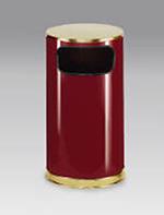 Rubbermaid FGSO1610GLCR 12-gal European Trash Receptacle - Flat Top, Galvanized Liner, Crimson/Brass