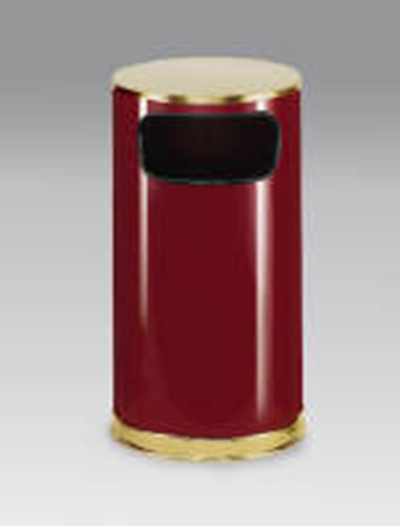 Rubbermaid FGSO1610GLCR 12-gal European Trash Receptacle - Flat Top, Galvanized Liner, Crimson/Brass