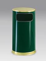 Rubbermaid FGSO1610GLEGN 12-gal European Trash Receptacle - Flat Top, Galvanized Liner, Empire Green/Brass