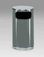 Rubbermaid FGSO1620GLANT 12-gal European Trash Receptacle - Flat Top, Galvanized Liner, Anthracite/Chrome