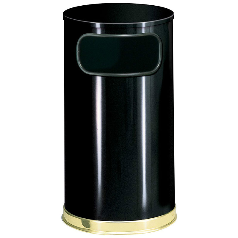 Rubbermaid FGSO1610GLBK 12-gal European Trash Receptacle - Flat Top, Galvanized Liner, Black/Brass