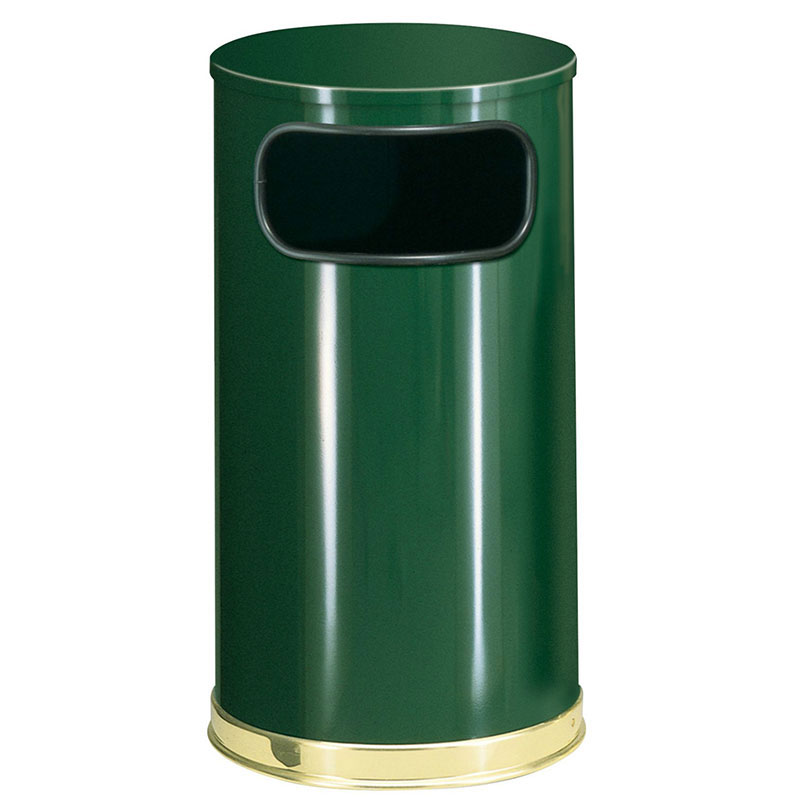 Rubbermaid FGSO1610GLEGN 12-gal European Trash Receptacle - Flat Top, Galvanized Liner, Empire Green/Brass