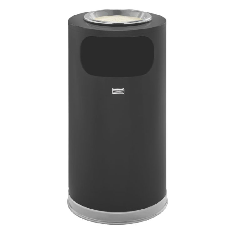 Rubbermaid FGSO1620GLANT 12-gal Indoor Decorative Trash Can - Metal, Anthracite