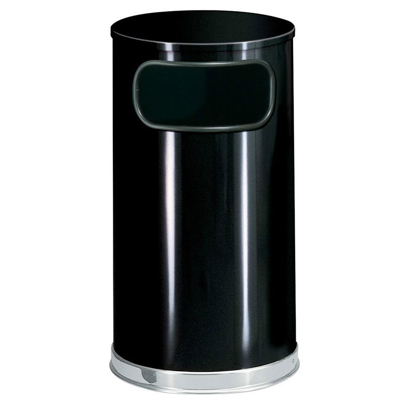 Rubbermaid FGSO1620GLBK 12-gal European Trash Receptacle - Flat Top, Galvanized Liner, Black/Chrome