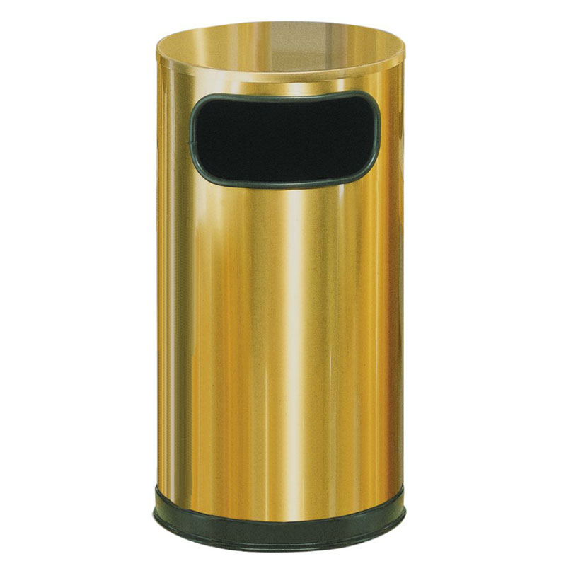Rubbermaid FGSO16SBSGL 12-gal European Trash Receptacle - Flat Top, Galvanized Liner, Satin Brass