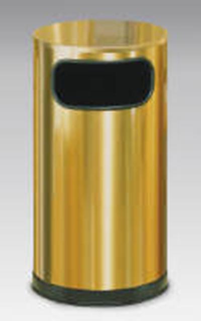 Rubbermaid FGSO16SBSGL 12-gal European Trash Receptacle - Flat Top, Galvanized Liner, Satin Brass