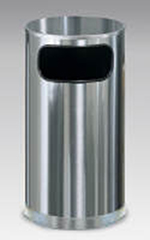 Rubbermaid FGSO16SSSGL 12-gal European Trash Receptacle - Flat Top, Galvanized Liner, Satin Stainless