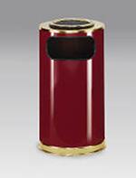 Rubbermaid FGSO16SU10GLCR 12-gal European Ash/Trash Receptacle - Sand Top, Galvanized Liner, Crimson/Brass