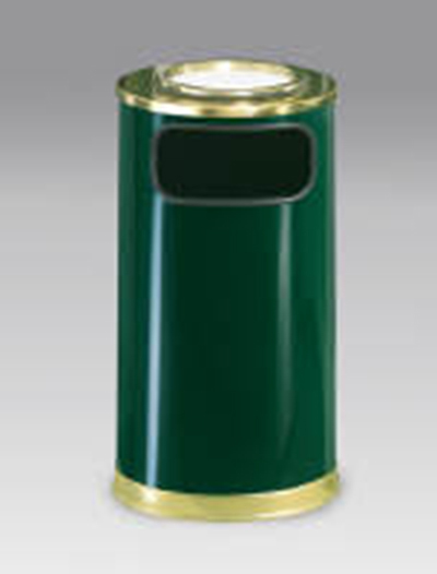 Rubbermaid FGSO16SU10GLEGN 12-gal European Ash/Trash Receptacle - Galvanized Liner, Empire Green/Brass