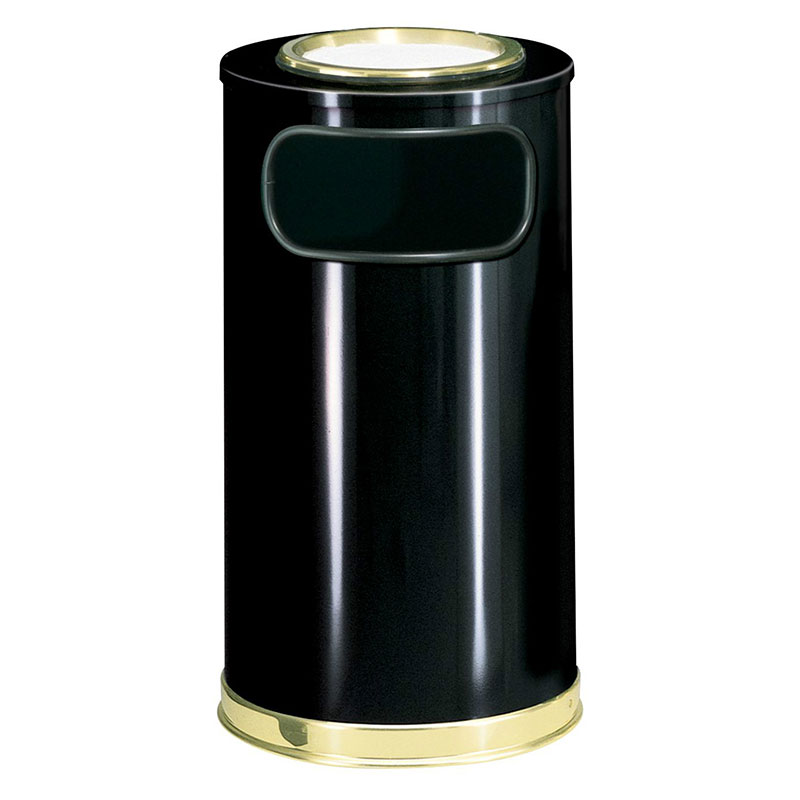 Rubbermaid FGSO16SU10GLBK 12-gal European Ash/Trash Receptacle - Sand Top, Galvanized Liner, Black/Brass