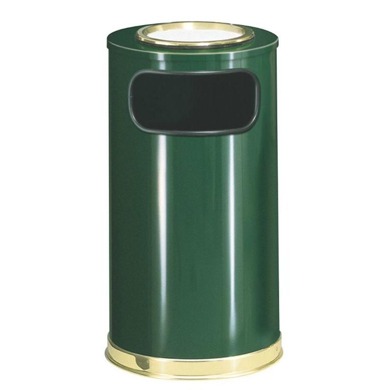 Rubbermaid FGSO16SU10GLEGN 12-gal European Ash/Trash Receptacle - Galvanized Liner, Empire Green/Brass