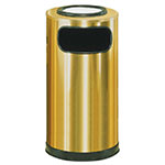 Rubbermaid FGSO16SUSBSGL 12-gal European Ash/Trash Receptacle - Galvanized Liner, Satin Brass Stainless