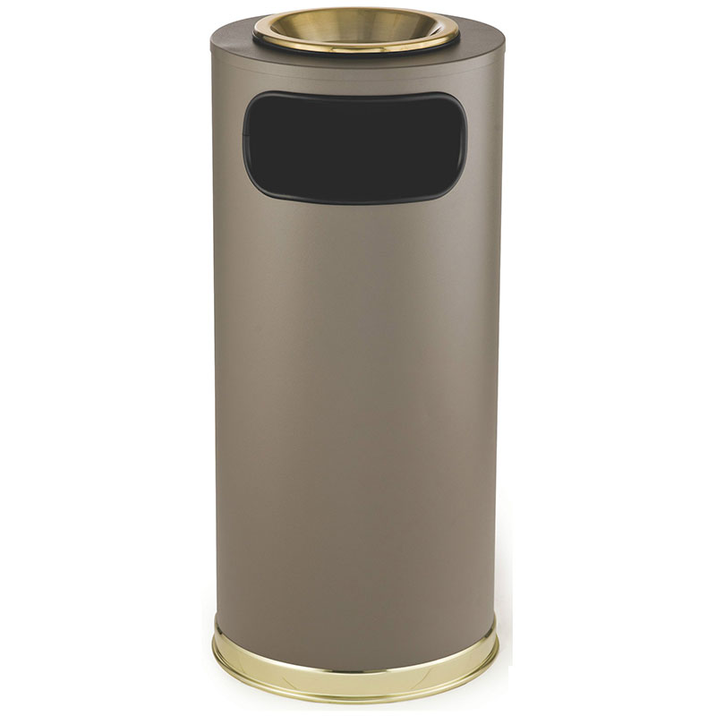 Rubbermaid FGSO17SUSBBRGL 15-gal European Ash/Trash Receptacle - Galvanized Liner, Brown/Brass