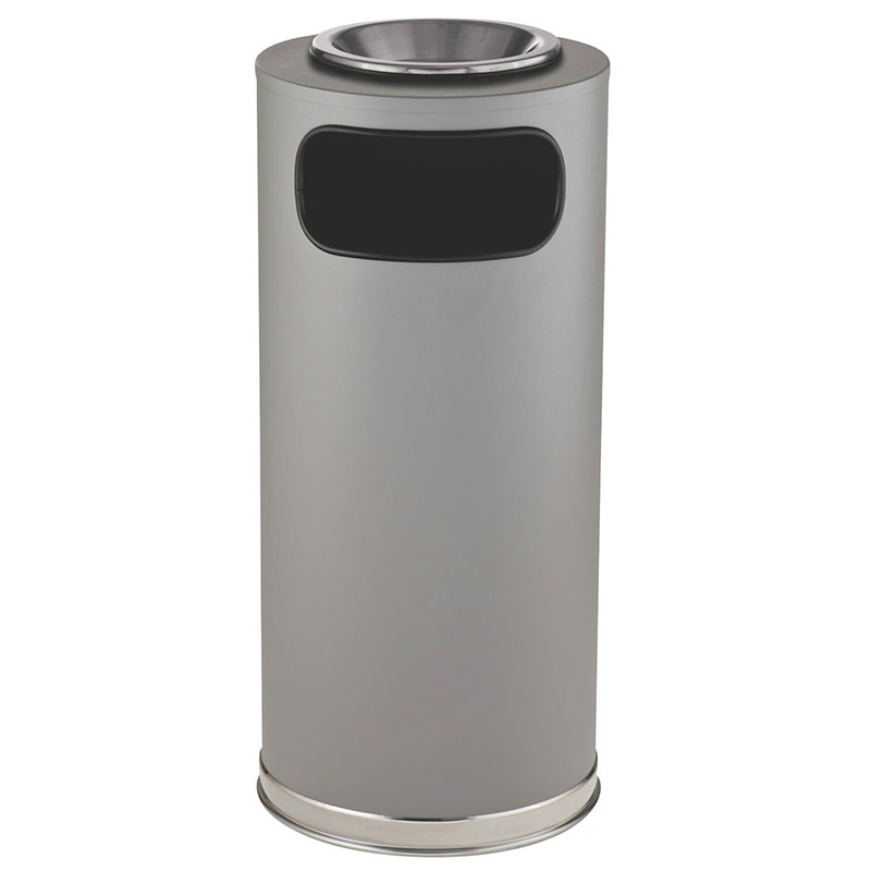 Rubbermaid FGSO17SUSCGRGL 15-gal European Ash/Trash Receptacle - Galvanized Liner, Gray/Chrome