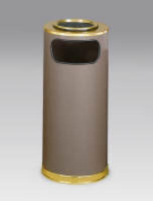 Rubbermaid FGSO17SUSBBRGL 15-gal European Ash/Trash Receptacle - Galvanized Liner, Brown/Brass
