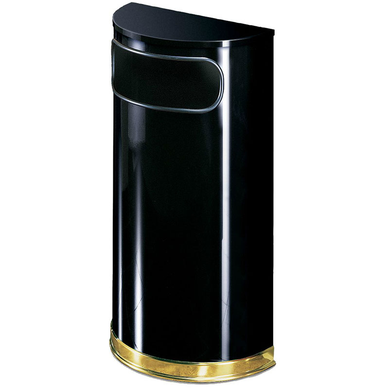 Rubbermaid FGSO810PLBK 9-gal European Half-Round Indoor Receptacle - Plastic Liner, Black/Brass