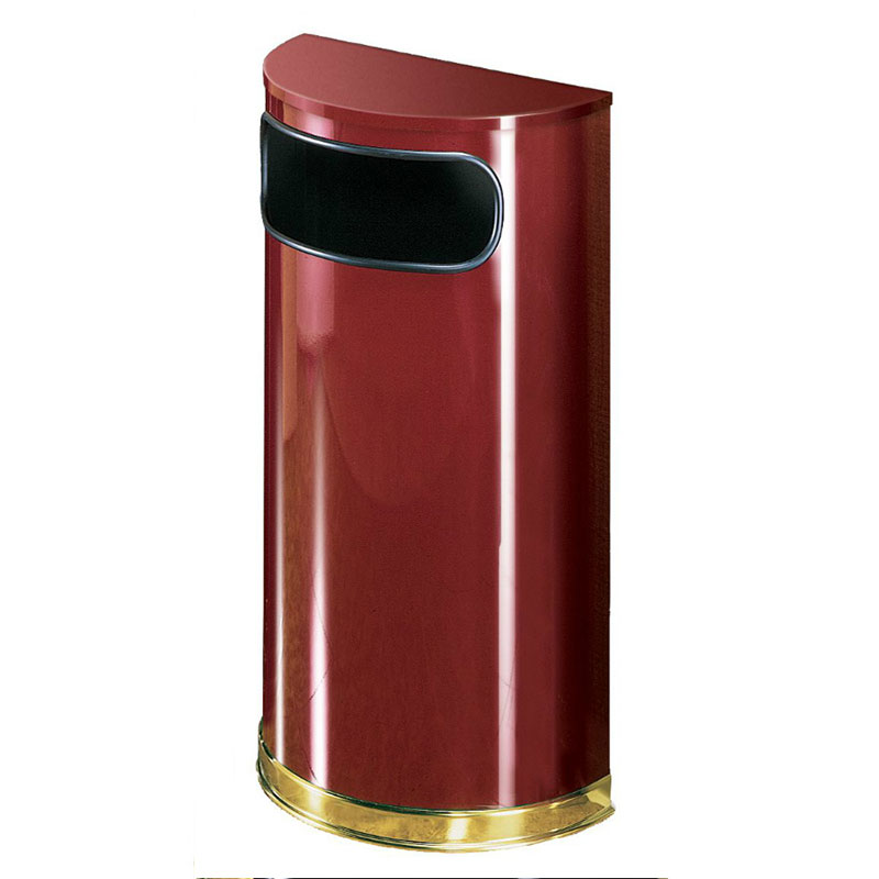 Rubbermaid FGSO810PLCR 9-gal European Half-Round Indoor Receptacle - Plastic Liner, Crimson/Brass