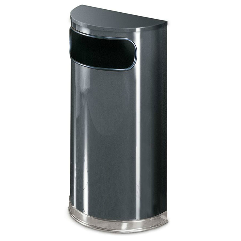Rubbermaid FGSO820PLANT 9-gal European Half-Round Indoor Receptacle - Plastic Liner, Anthracite/Chrome