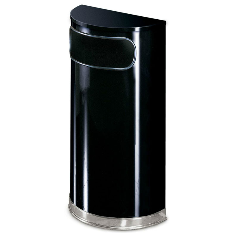Rubbermaid FGSO820PLBK 9-gal European Half-Round Indoor Receptacle - Plastic Liner, Black/Chrome